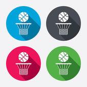 Basketball basket and ball icons — Stock Vector