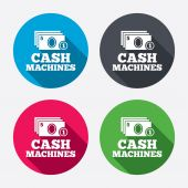 Cash and coin machines signs — Stock Vector