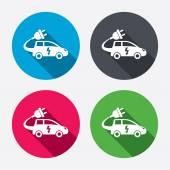 Iconos de signo de coche eléctrico — Vector de stock