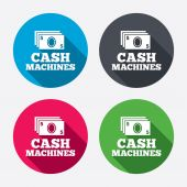 Cash machines sign icons — Stock Vector