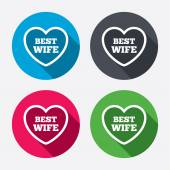 Best wife sign icons — Stock Vector