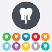Tooth implant signs — 图库矢量图片