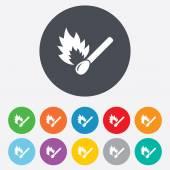 Match stick burns icon. — Stock Vector