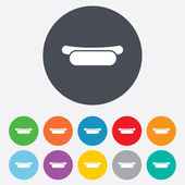 Hotdog sandwich with mustard icons — Stock Vector
