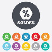 Soldes - Sale in French signs — Stock vektor