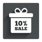 10 percent sale gift box tag icon. — Stockvector