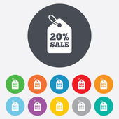 20 percent sale price tag signs — Stock Vector