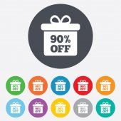 90 percent sale gift box — Stock Vector