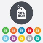 10 percent sale price tag  icons — Stock Vector