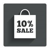 10 percent sale bag tag icon. — Stock Vector