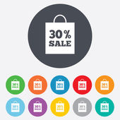 30 percent sale bag tag signs — Stock Vector