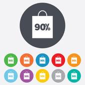 90 percent sale bag — Stock Vector