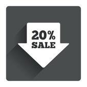 20 percent sale arrow tag  icon. — Stockvector
