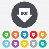 80 percent sale arrow — Stock Vector