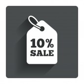 10 percent sale price tag sign — Stock Vector