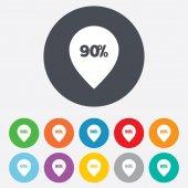 90 percent sale pointer — Stock Vector