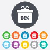 80 percent sale gift box — Stock Vector