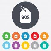 90 percent sale price — Stock Vector