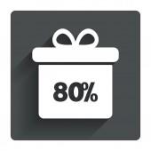 80 percent sale gift box — Stockvector
