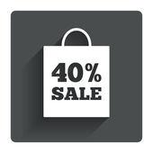 40 percent sale bag tag sign — Stock Vector