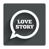 Love story speech bubble sign — Vector de stock