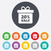 20 percent sale gift box tag signs — Stock Vector