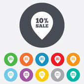 10 percent sale pointer tag icons — Stock Vector