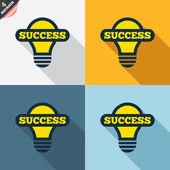Bulb with success symbols — Vettoriale Stock