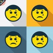 Sad face with tear signs — Cтоковый вектор