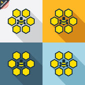 Honeycomb icons — Stock Vector