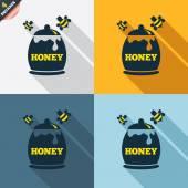 Honey in pot signs — Cтоковый вектор