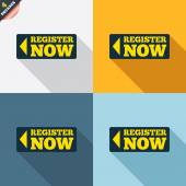 Register now signs — Stock Vector