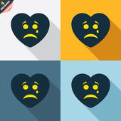 Sad heart face with tear icons — Stockvektor