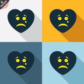 Sad heart face with tear icons — Cтоковый вектор