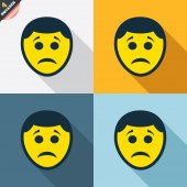 Sad face sign icons — Stock Vector