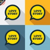 Love story speech bubble signs — Stock vektor