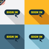 Sign in with cursor pointer icons — Stock Vector