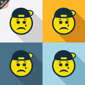 Sad rapper face with tear icons — Stock vektor