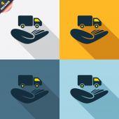 Company vehicles insurance signs — Cтоковый вектор