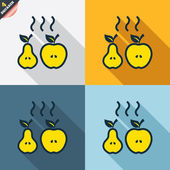 Apple and pear icons — Vector de stock