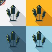 Fireworks rockets icons — Vector de stock