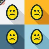 Sad egg face with tear signs — Stock Vector
