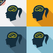 Head with brain sign icons — Wektor stockowy