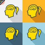 Head with brain signs — Cтоковый вектор