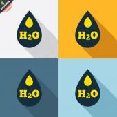 H2O Water drop signs — Cтоковый вектор