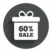 60-процентная подарочная коробка продаж — Cтоковый вектор