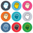Head with brain sign icons — Stock Vector #63393653