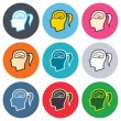 Head with brain sign icons — Stock Vector #63394715