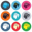 Head with brain signs — Stock Vector #63395821