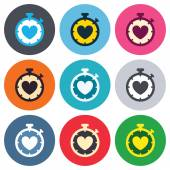 Heart Timer sign icons — Stock Vector
